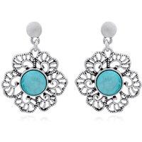 Trendy Baubles Blue Resin Flower Metal Drop Earrings