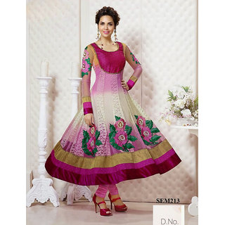 Gherdar Pink And White Georgette Anarkali Suit In Esha Gupta