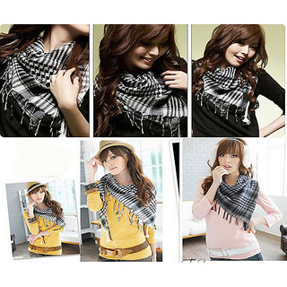 Excellent Selling Awesome Product Black And White 100% Pure Cotton Scarf Scarves