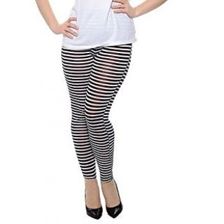 Women Soft Cotton Blend Stretchy Stripe Print Leggings From KOTTY