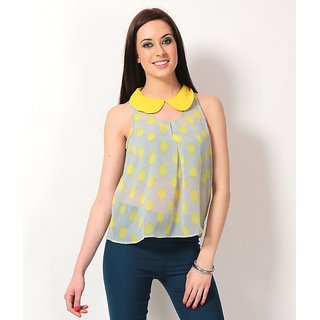 Valentina Grey And Yellow Polka Printed Poly Georgette Sleeve Less Regular Top