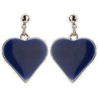 Trendy Baubles Blue Enamel Heart Metal Drop Earrings(Design 2)