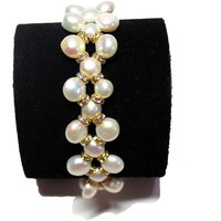 Fresh Water Pearl Bracelet - White Mother Of Pearl And Golden Rings In 3 Strings