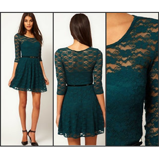 Teal Lace Dress With Belt