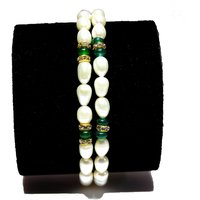 Fresh Water Pearl Bracelet - White Colour With Green Stone Beads In Two Strings