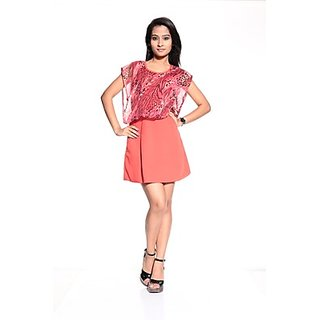 Poly Crepe & Poly Ciffon  Coral Sleeve Less Top