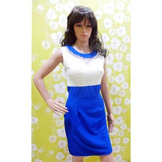 Top Designer One Piece With Elegant Look Blue N White One Piece