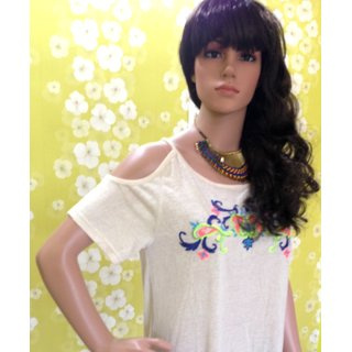 Style Wave-top Cream Comfortable Cotton Embroidary Top-Oneside Shoulder Designer