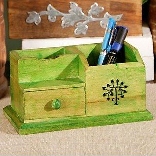 Wooden Green Desk organizer
