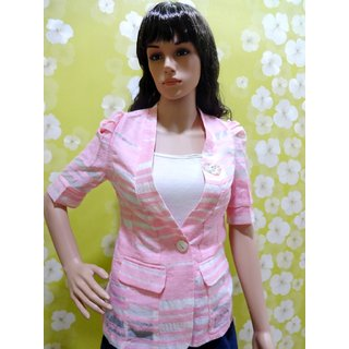 Tops-Style-Wave-striped-pink-fancy-puff-three-fourth-sleeved-designer-shrug