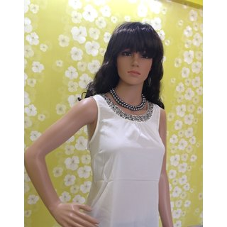 Tops-Style Wave-top Round Neckline Studded Elegant Chiffon Top In White