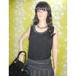 Style Wave-top Round Neckline Studded Elegant Chiffon Top In Black