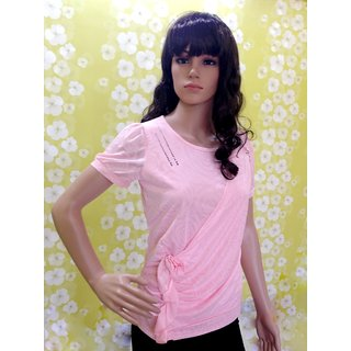 Style Wave-top Fancy Soft Baby Pink Puff Sleve Top-pink Princess Top