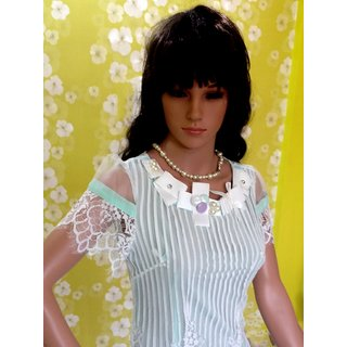 Style Wave-top Summer Special Pista Lace Striped Long Top-cute Pista Slim Fit