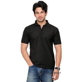 Men's Branded Plain Black Polo T-shirt