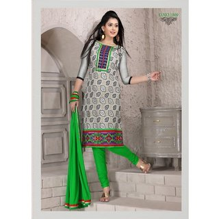Banarasi Jacquard Gray And Green Churidar Dress