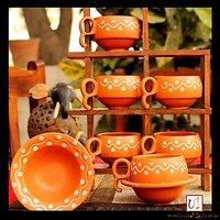 Earthen Print Ceramic Cup Saucer(Set Of 6)