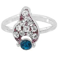 R S Jewels German Silver Plated White Blue Cz Stone Toe Rings