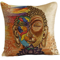 Rangrage - Abstract Buddha - Beige - Silk - Hand Painted Cushion Covers