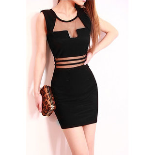 Sexy Low Cut Stretch Bodycon Mini Dress Black L