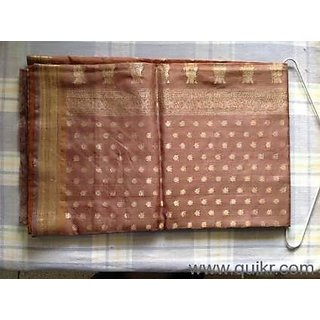 Coffee Shade Silk Saree With Light Golden Work