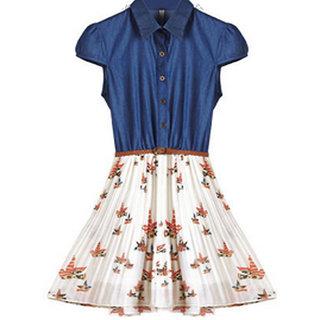 Rc Summer Print Pleated Denim Dress