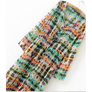 Rc Tie-Dye Printing Button Up Dress