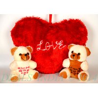 Soft Red Heart Cushion With Two Cute Teddy Combo