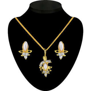 The Pari Rhinestones and Pearl Pendant Set with Chain available at ShopClues for Rs.170