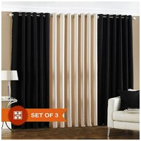 Deal Wala 2 Black & 1 Cream Eyelet Door Curtain