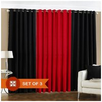 Deal Wala 2 Black & 1 Red Eyelet Door Curtain