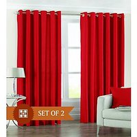 Deal Wala Pack Of 2 Red Color Eyelet Door Curtain