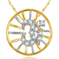 Sukkhi Cubic Zirconia Studded Om Pendant with Chain (Design 1)