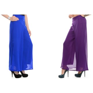 SAMFASHIONS Combo Of 2 Purple And Blue Poly Georgette Palazzos