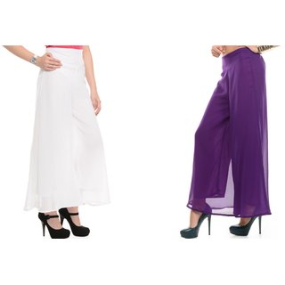 SAMFASHIONS Combo Of 2 Purple And White Poly Georgette Palazzos