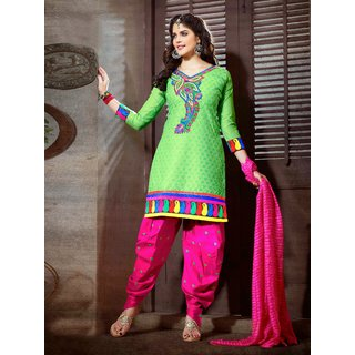 Laroyal Green & Pink Printed Work & Embroidery Cotton Salwar Kameez BB00010