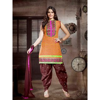 Laroyal Orange & Brown Printed Work & Embroidery Cotton Salwar Kameez BB17