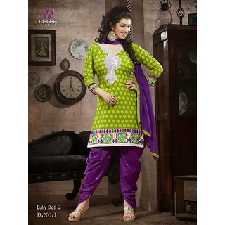 Laroyal Green & Violet Printed Work & Embroidery Cotton Salwar Kameez BB18