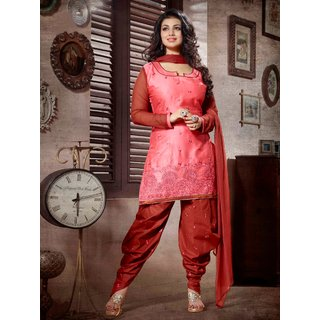 Laroyal Pink & Maroon Printed Work & Embroidery Glace Cotton Salwar Kameez BB39