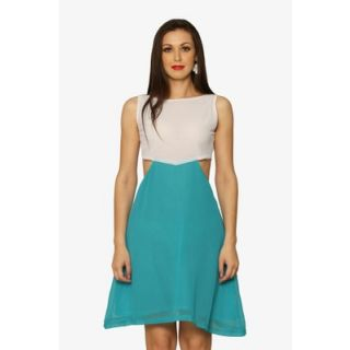 Sweet Escape Colorblock Dress In White Green