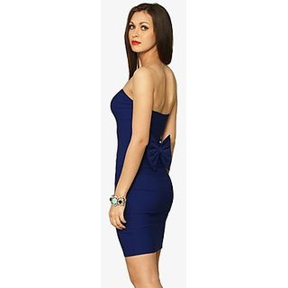Bow Contraire Bodycon Dress In Blue