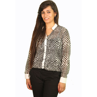 Ssysa Sheer Polk Dot Full Sleeves Women's Shirt