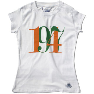 "Tricolor Nation Tricolour Patriotic Women's T-shirt ""1947"" (White)"
