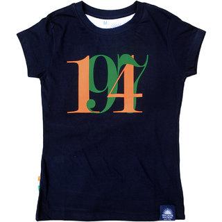 """Tricolor Nation Tricolour Patriotic Women's T-shirt """"1947"""" (Navy)"""