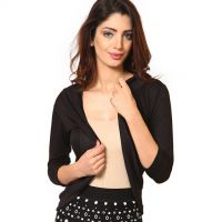 Stylish Full Length Three Quarter Sleeves Shrug - Black