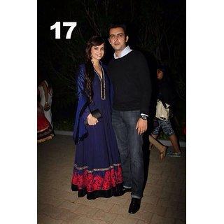 Ajwa Bollywood Dia Mirza Blue Anarkali Embroided Dress