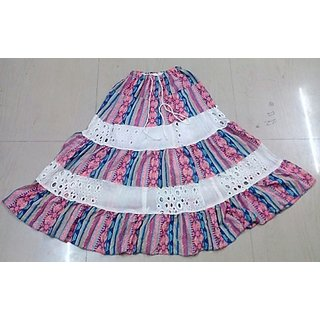 Revin Branded White With Pink Colour Rich Look Skirt