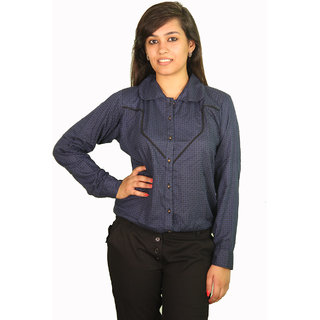 Ssysa Full Sleeves Smart Navy Blue Women's Shirt