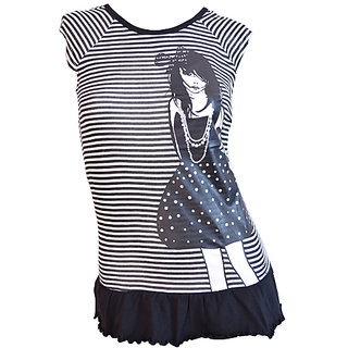 Killer For Her Black Printed Puffy Girl T-shirt