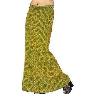 Ethnic Bottle Green Cotton Wrap Around Skirt -203